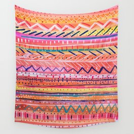 Hand painted Bright Patterned Stripes Wall Tapestry