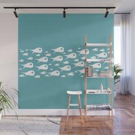 Fish Stripe - MidCentury Modern Minimalist Ocean pattern in White and Aqua Teal Wall Mural