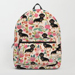 Doxie Florals - vintage doxie and florals gifts for dog lovers, dachshund decor, black and tan doxie Backpack