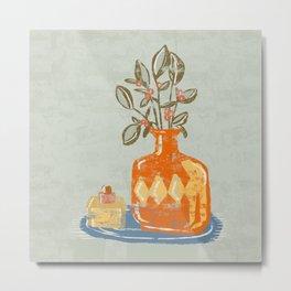 Orange Scratch Vase Metal Print