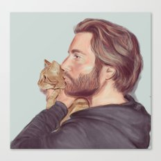 A Man and his Cat Canvas Print