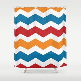 Blue Red Orange Chevron Shower Curtain
