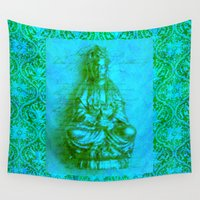 budi satria kwan Wall Tapestries featuring Jade Kwan Yin by Jan4insight