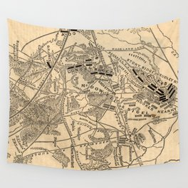 Vintage Battle of Bull Run Map (1886) Wall Tapestry