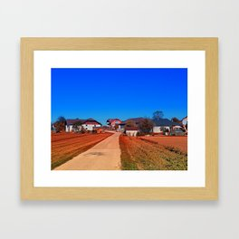 Peaceful countryside village scenery | landscape photography Framed Art Print