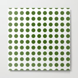 Simply Polka Dots in Jungle Green Metal Print