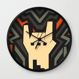 Grey Orange Rock Art Wall Clock