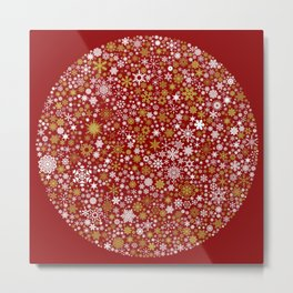 A Thousand Snowflakes in Warm Red Metal Print