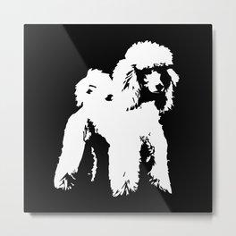 Poodle dog black white Metal Print