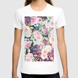 Blush pink watercolor elegant roses floral nebula T-shirt