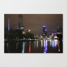 Melbourne skyline at night Canvas Print