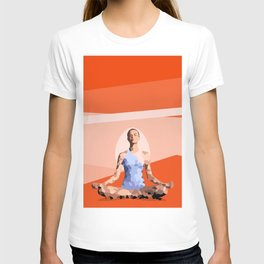 Feminine energy. A woman meditates in the Lotus position. Abstract orange painting. T-shirt