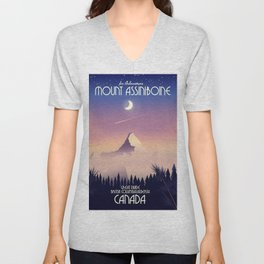 Mount Assiniboine Canada travel poster Unisex V-Neck