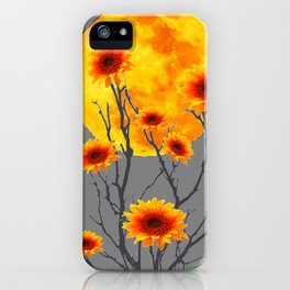 Red Gold Color Fantasy Sunflowers  Flowers Moon  Art iPhone Case