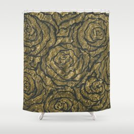 Intense Rose Print on Textured Canvas Shower Curtain