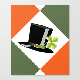 Hat with shamrock Canvas Print
