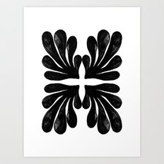 Grace - black and white abstract painting india ink brushstroke watercolor minimal modern urban  Art Print