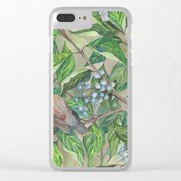Cedar Waxwings bird and berries Clear iPhone Case