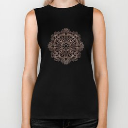 Mandala Rose Gold Pink Shimmer on Soft Gray by Nature Magick Biker Tank