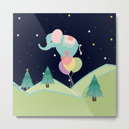 Elephant with Balloons, nursery decor , Metal Print