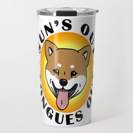 Sun's out - Tongues out (Shiba Inu) Travel Mug
