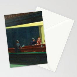 Portrait version NIGHTHAWKS downtown diner late at night iconic cityscape painting by Edward Hopper Stationery Cards