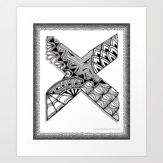 Zentangle X Monogram Alphabet Illustration Art Print