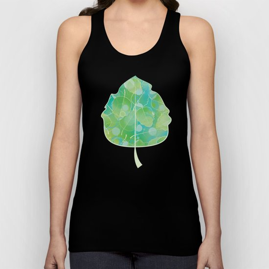 Floating Leaves Pattern I - Spring, Summer, Apple Green Unisex Tank Top