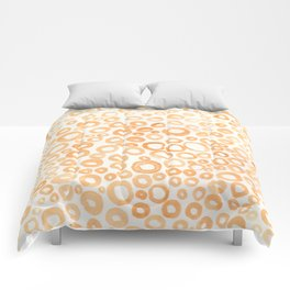 Abstract Gold and Orange Circle Pattern Comforters