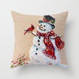 Snowman and cardinal Throw Pillow