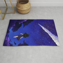 Behold the Galaxy - Anime Girl looking at the Stars Rug