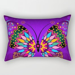 Colorful Butterflies and Flowers V23 Rectangular Pillow