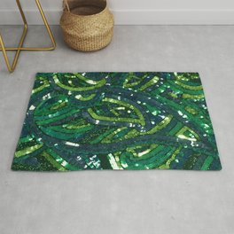 Green Paisley Sequin Pattern Rug