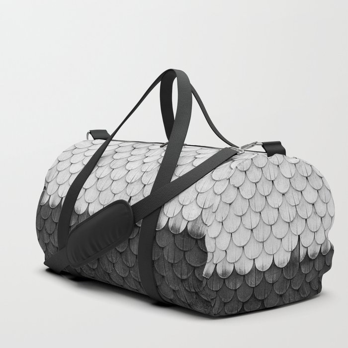 SHELTER / white and black Duffle Bag