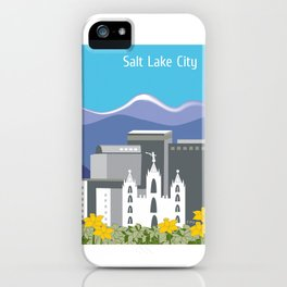 Salt Lake City, Utah - Skyline Illustration by Loose Petals iPhone Case