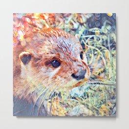 Aquarell Otter Metal Print