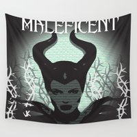 maleficent Wall Tapestries featuring Maleficent typography  by LCMedia