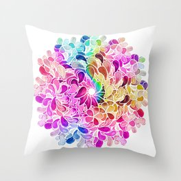 Rainbow Watercolor Paisley Floral Throw Pillow