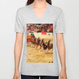 Budweiser Clydesdales performing in Las Vegas Unisex V-Neck