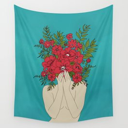 Blooming Red Wall Tapestry