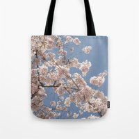 cherry blossoms Tote Bags featuring  Cherry Blossoms  by cescabear