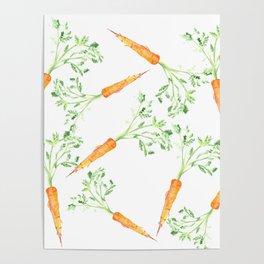 Watercolor carrots Poster