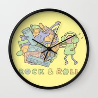 katamari Wall Clocks featuring Katamari Rock & Roll by vonplatypus