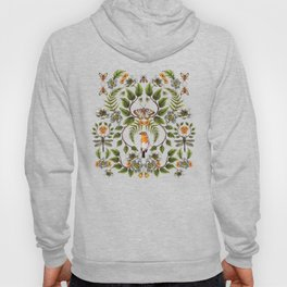 Spring Reflection - Floral/Botanical Pattern w/ Birds, Moths, Dragonflies & Flowers Hoody
