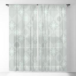 Mid Century Modern Diamonds Pale Green Sheer Curtain