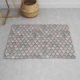 Blush And Grey Moroccan Tiles  Rug