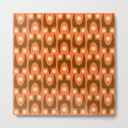 Mid Century Modern Abstract Pattern 546 Orange Brown and Yellow Metal Print