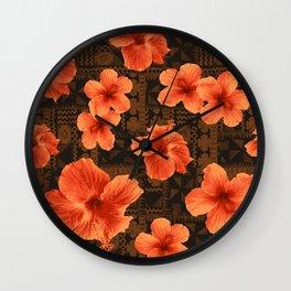 Kalalau Tapa Hawaiian Hibiscus Vintage Inspired Print Wall Clock
