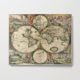 1689 Map of the World by Gerard van Schagen Metal Print