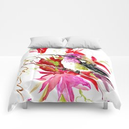 Little Hummingbird and Tropical Pink Flowers Comforters
